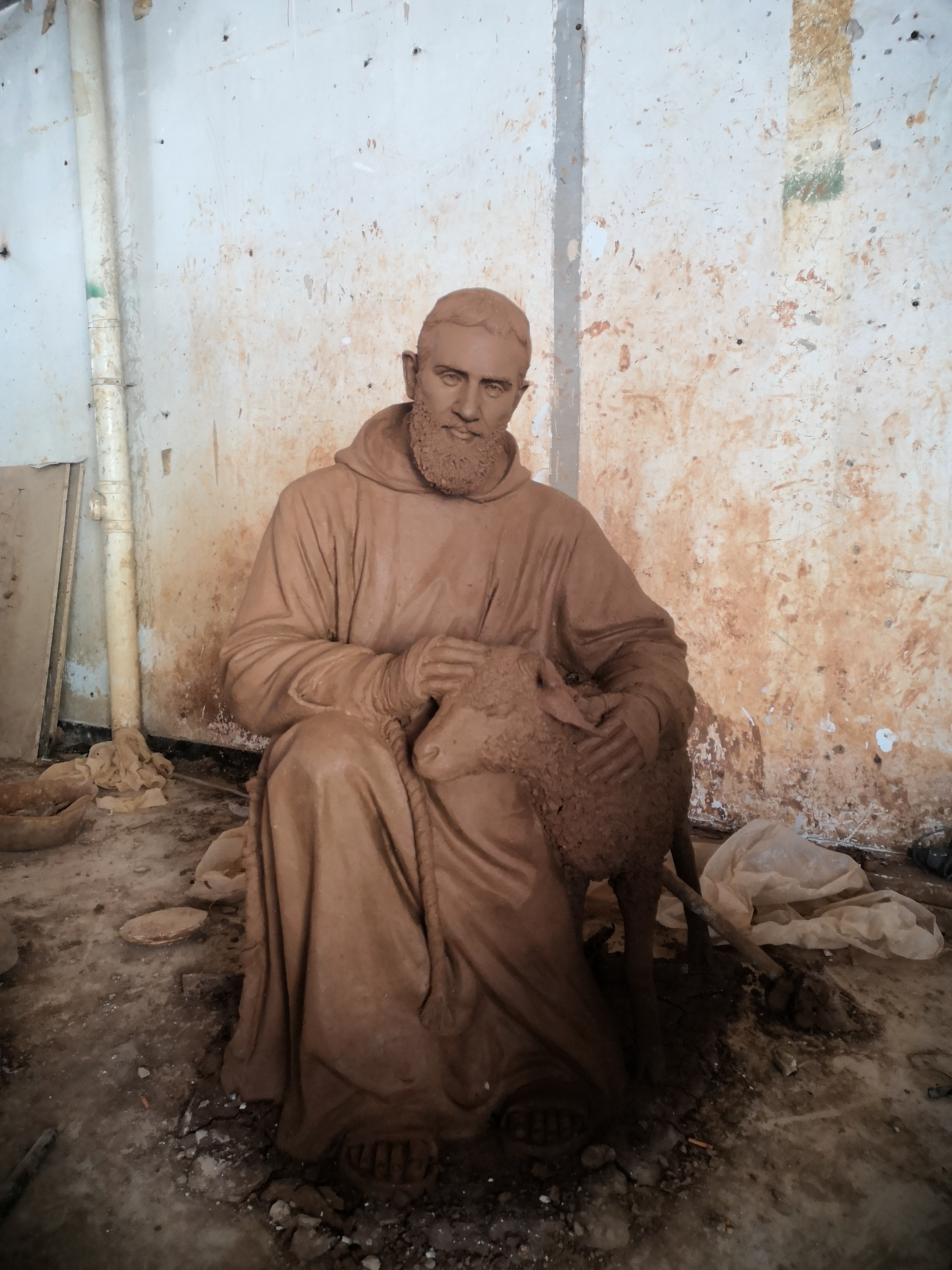 Young St Pio Statue before casting